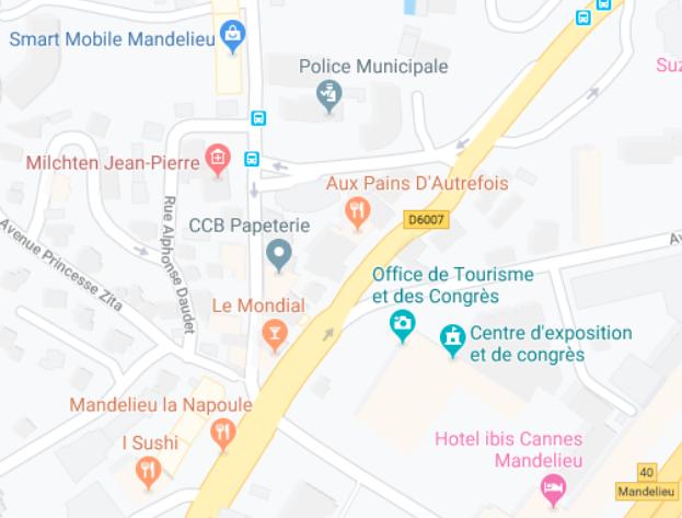 Plan de l'Office de tourisme de Mandelieu